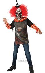 Freako Clown + Mask Boys Halloween Fancy Dress Circus Horror Kids Childs Costume