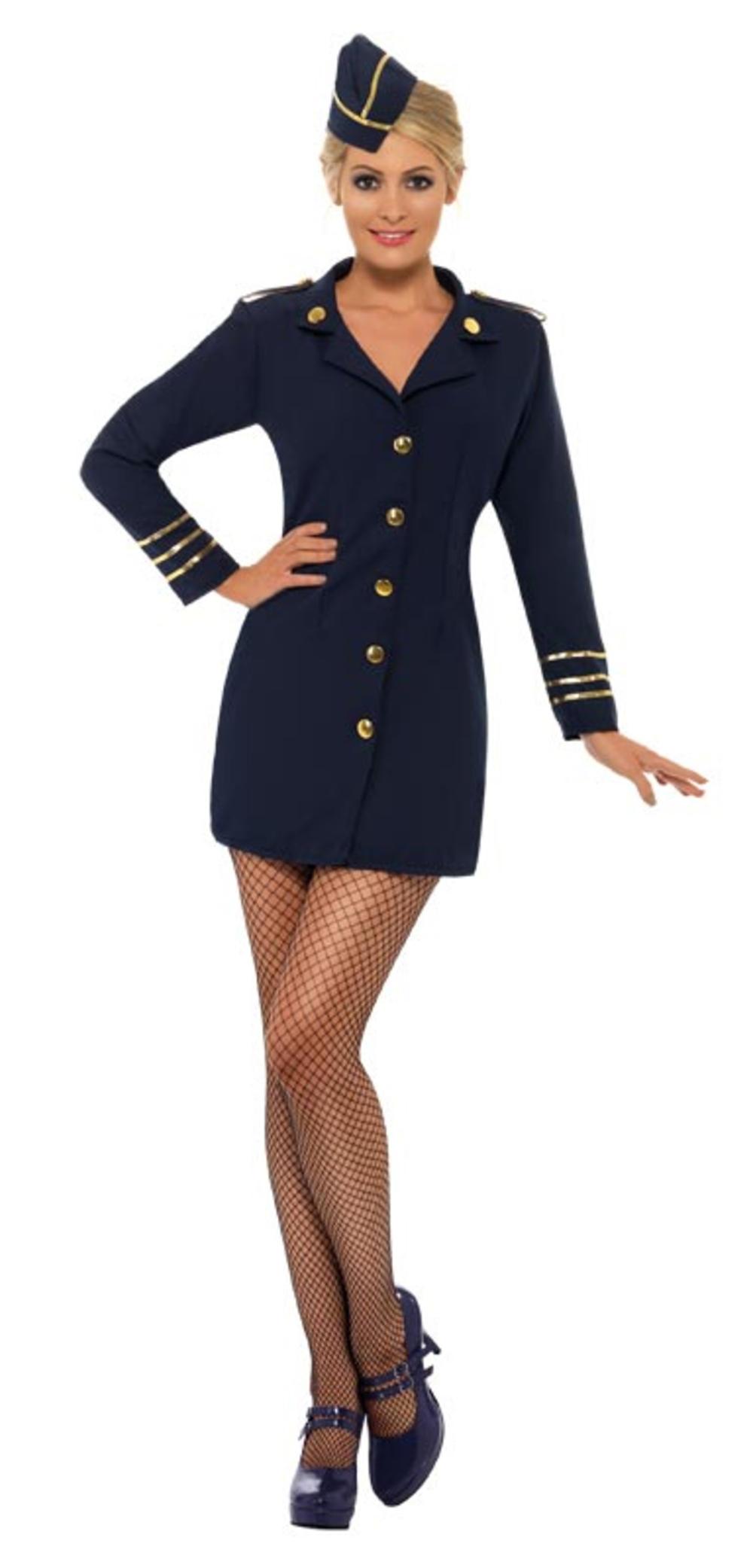 Flight Attendant Ladies Fancy Dress Uniform Navy Women Air Hostess Adult Costume