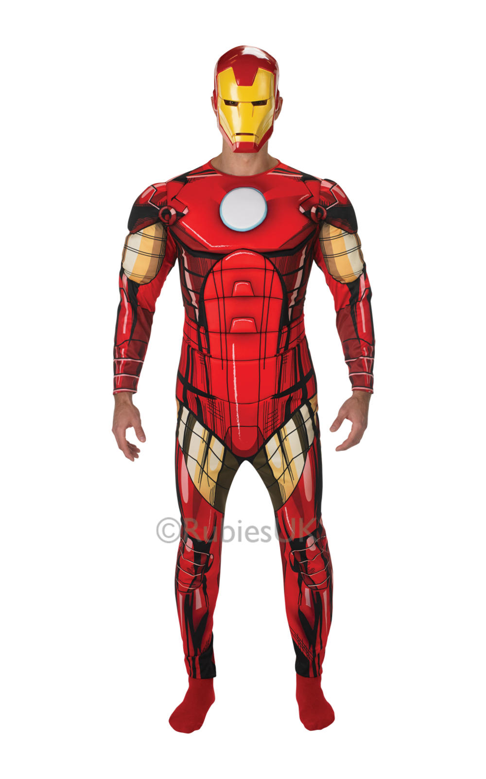 Deluxe Iron Man + Mask Mens Fancy Dress Avengers Superhero Adults Costume Outfit