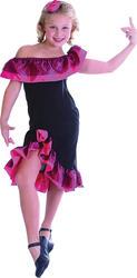 Spanish Flamenco Girls Fancy Dress Dancer National Dress Childs Costume Outfit