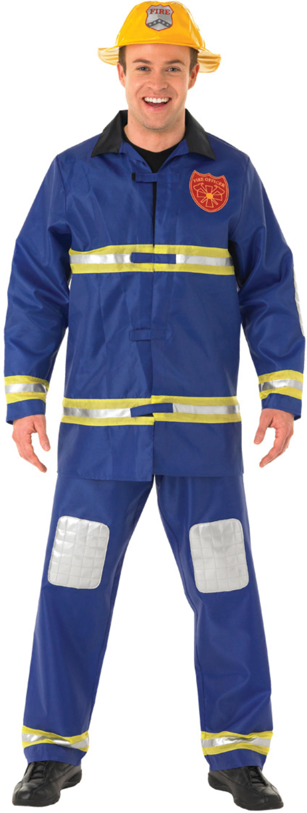 Fireman Mens Fancy Dress Fire Fighter Emergency Services Uniform Adults Costume