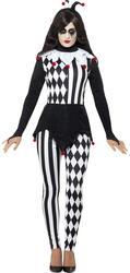 Evil Jester Ladies Fancy Dress Halloween Horror Circus Harlequin Adults Costume