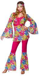 Hippy Girl + Medallion 1960s Fancy Dress Hippie Ladies 60s-1970s Womens Costume