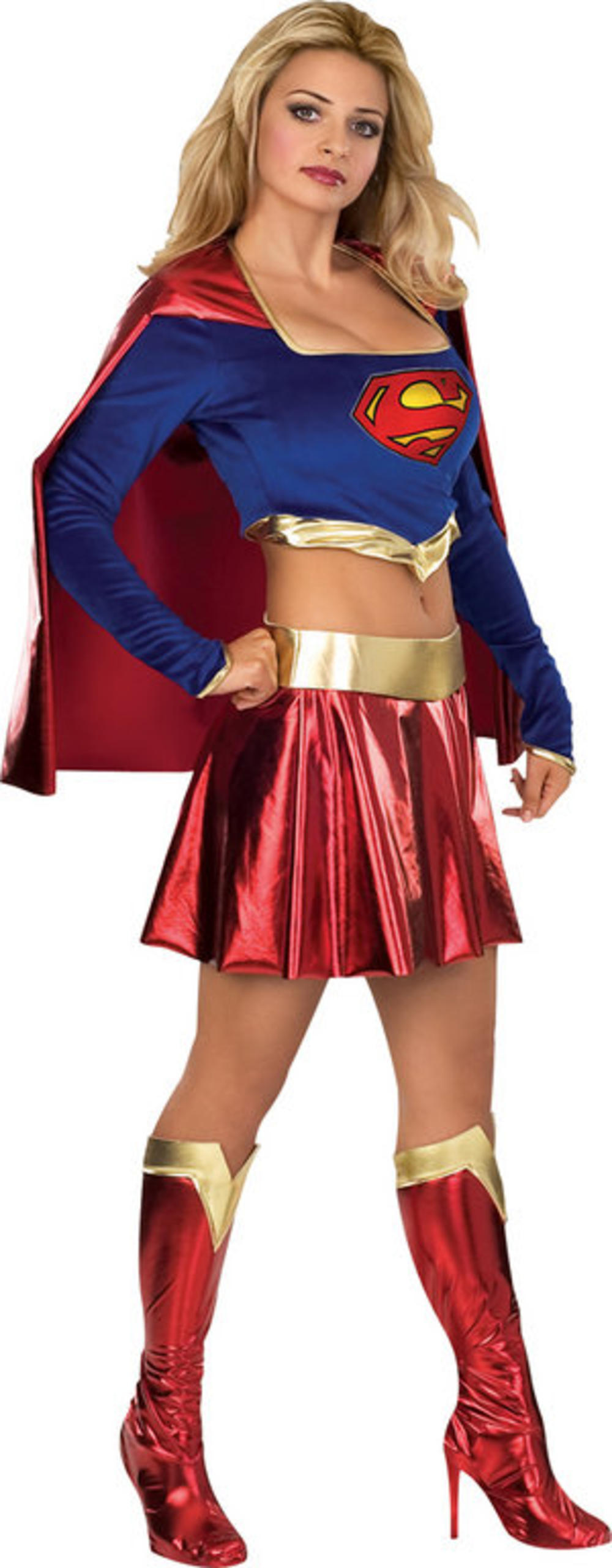 Sexy Supergirl Ladies Fancy Dress Superhero Comic Book Day Womens Adults Costume