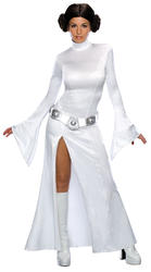 Sexy Princess Leia Star Wars Fancy Dress Ladies Costume Outfit + Wig UK 6-12