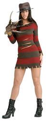 Miss Freddy Krueger Ladies Fancy Dress Adults Halloween Horror Movie Costume
