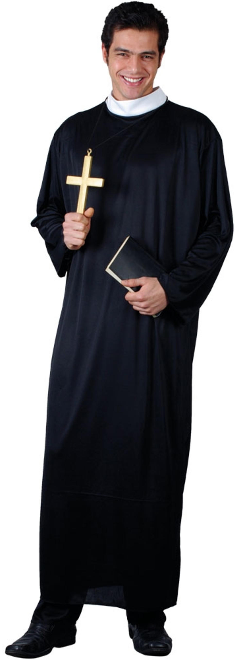Father Priest Mens Fancy Dress Minster Vicar Adults Religious Costume Outfit