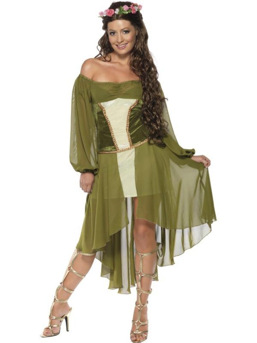 Maid Marion Medieval Fancy Dress Ladies Robin Hood Maiden Adult Costume UK 8-14