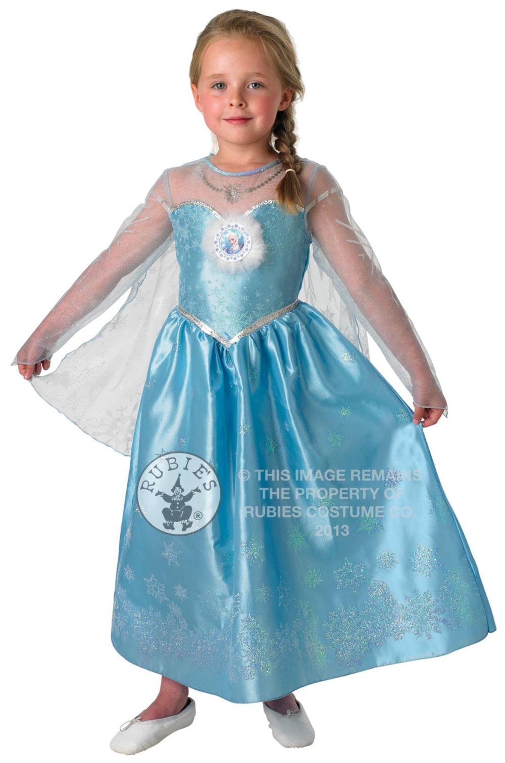 Deluxe Frozen Elsa Girls Fancy Dress Disney Princess Kids World Book Day Costume