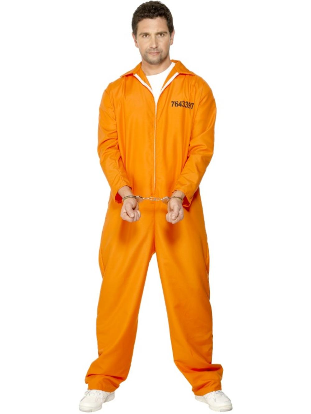 Prisoner Fancy Dress Orange Boiler Suit Mens Convict Halloween Adults Costume