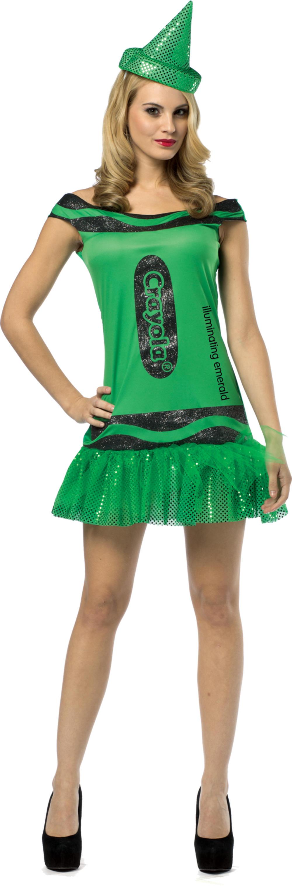 Emerald Green Crayola Glitter Dress Women's Costume