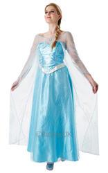 Elsa Ladies Fancy Dress Fairy Tale Ice Queen Adults Disney Princess Costume