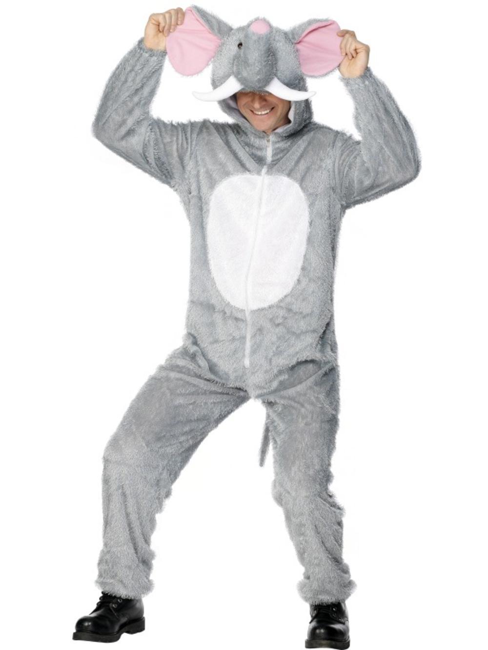 Elephant Fancy Dress Jungle Animal Party Mens Ladies Adult Costume Outfit M/L