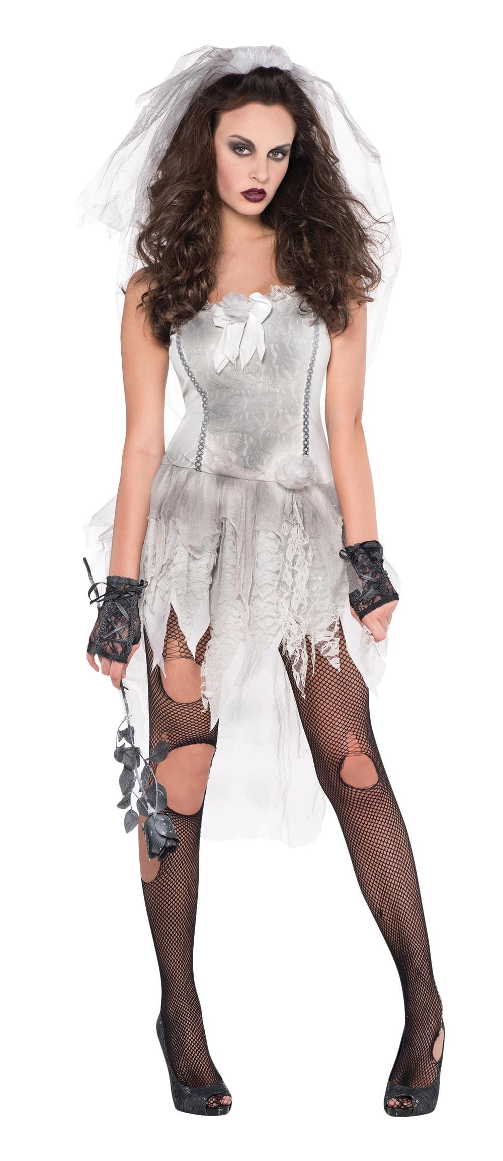 Drop Dead Zombie Bride Ladies Fancy Dress Halloween Wedding Adult Costume Outfit