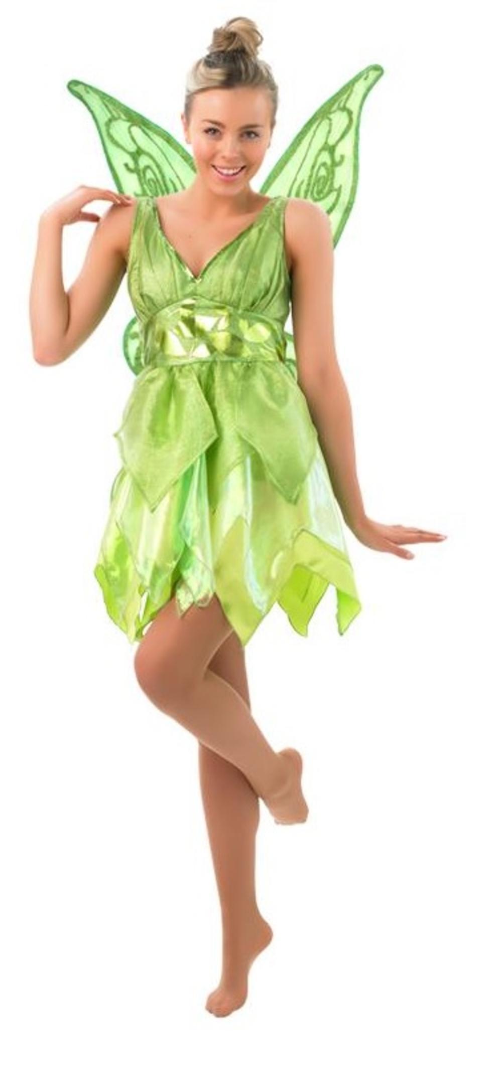 Tinker Bell + Wings Ladies Fancy Dress Fairytale Peter Pan Womens Costume Outfit
