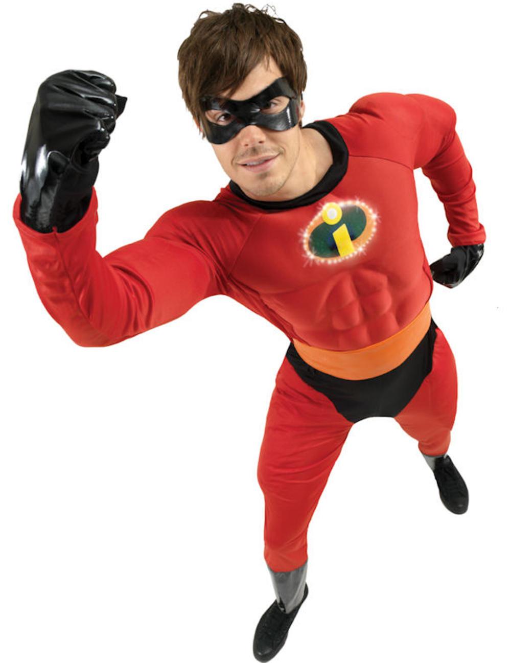 Mr Incredible Mens Fancy Dress Disney's The Incredibles Superhero Costume Outfit