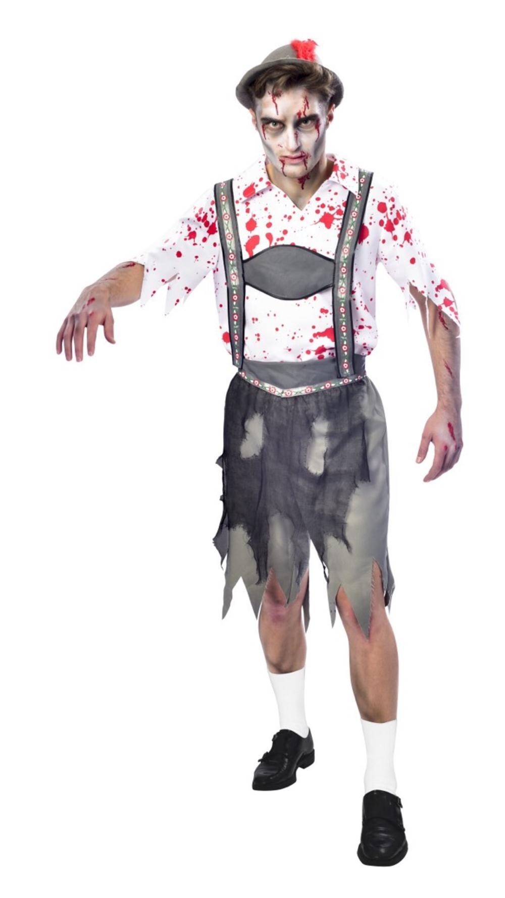 Zombie Oktoberfest Mens Halloween Fancy Dress German Bavarian Adults Costume New