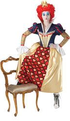 Deluxe Red Queen Alice in Wonderland Ladies Fancy Dress Fairytale Costume Outfit