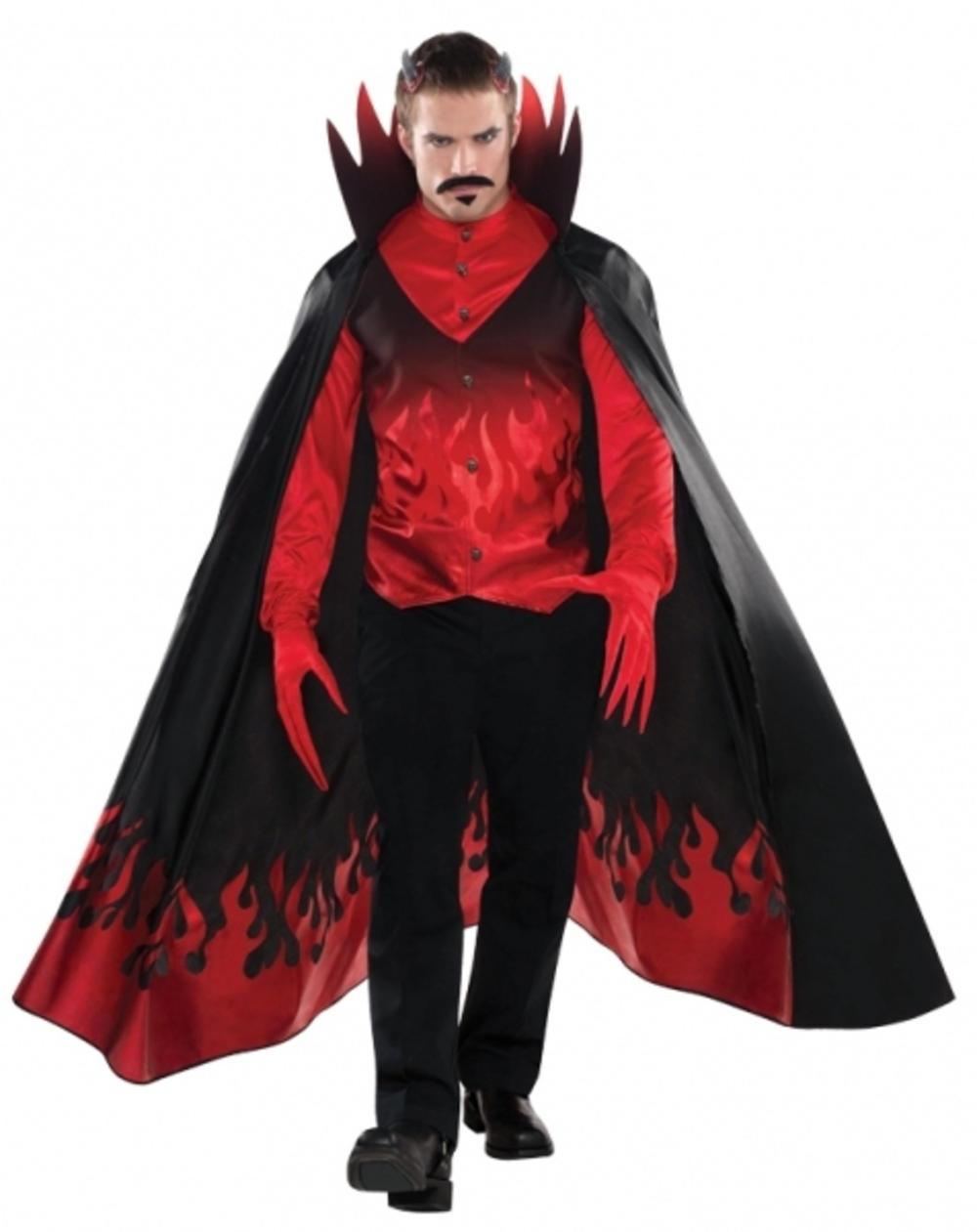 Deluxe Diablo Devil + Cape Mens Halloween Fancy Dress Horror Adults Costume New