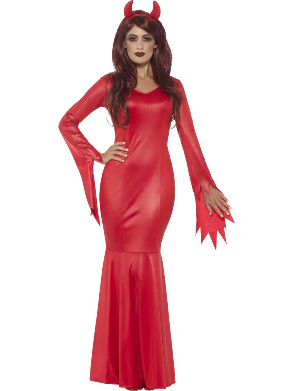 Devil Mistress Ladies Fancy Dress Gothic Demon Adults Halloween Costume Outfit