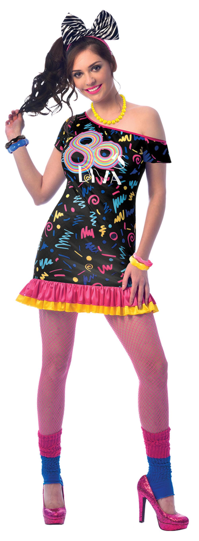 80s Girl Ladies Fancy Dress Neon Diva Groovy Disco 1980s Womens Adults Costume