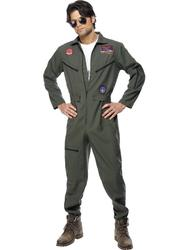 Top Gun Deluxe Pilot Mens 1980s Fancy Dress Adults Army Uniform Costume Outfit