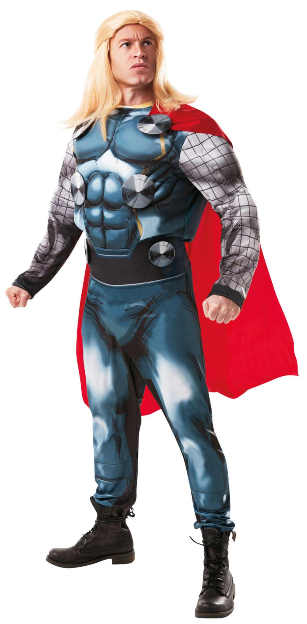 Deluxe Thor + Wig Mens Fancy Dress Avengers Marvel Comic Superhero Adult Costume