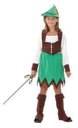Deluxe Robin Hood Girls Fancy Dress Medieval World Book Day Kids Costume Outfit