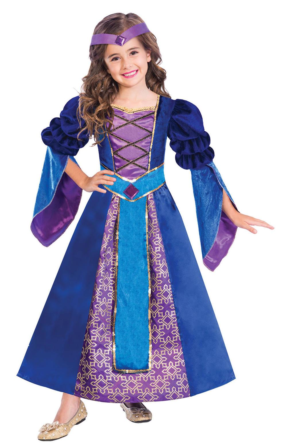 Medieval Princess Girls Fancy Dress Royal Tudor Kids World Book Day Costume
