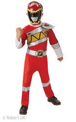 Deluxe Red Dino Charge Power Ranger Boys Fancy Dress Superhero Childs Costume