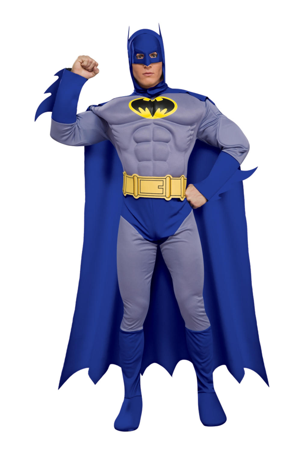 Deluxe Batman Muscle Superhero Mens Fancy Dress Adult Costume Outfit S M L