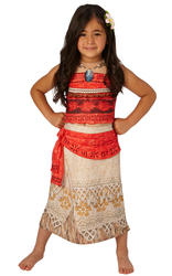 Deluxe Moana Girls Fancy Dress Hawaiian Disney Princess Book Day Childs Costume