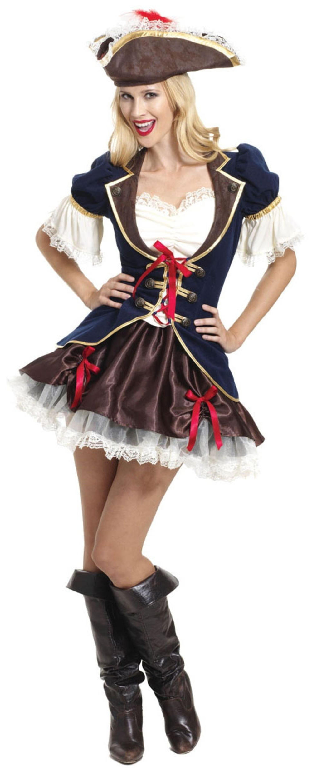 Pirate Captain Buccaneer Ladies Fancy Dress Pirates Adults Costume Outfit + Hat