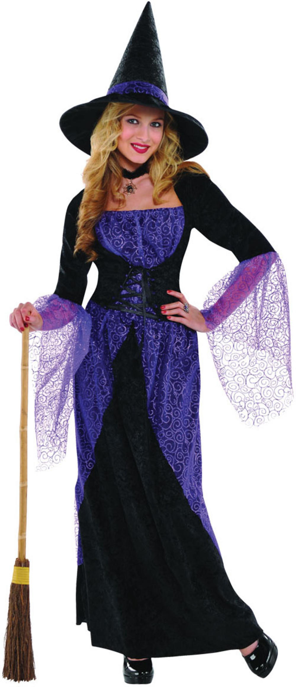 Pretty Potion Witch Ladies Fancy Dress Witches Adults Halloween Costume Outfit