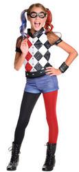 Deluxe Harley Quinn Girls Fancy Dress DC Comic Book Day Supervillain Kid Costume