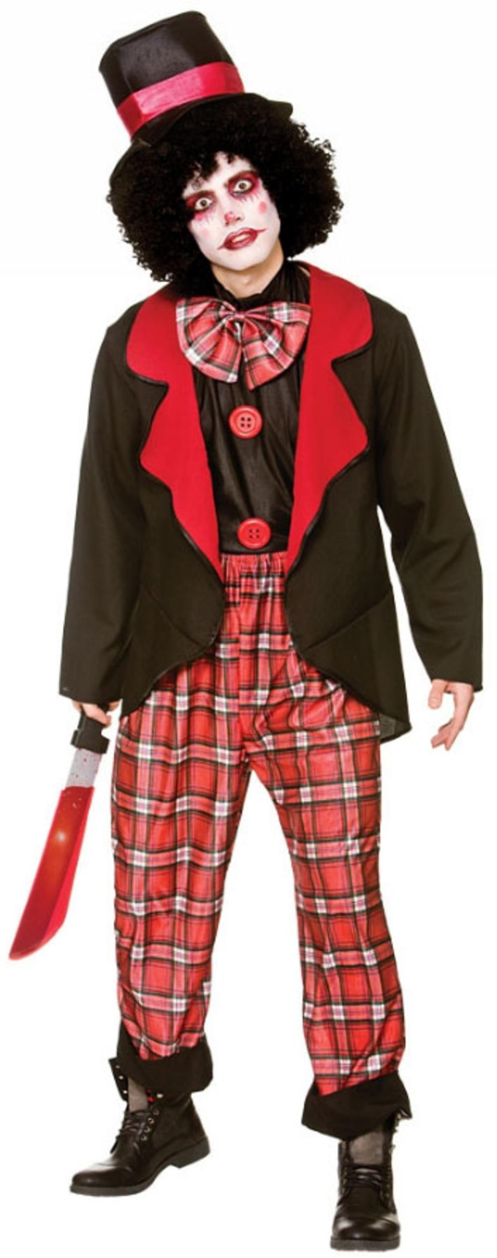 Deluxe Freaky Clown Mens Fancy Dress Halloween Spooky Circus Adults Costume New