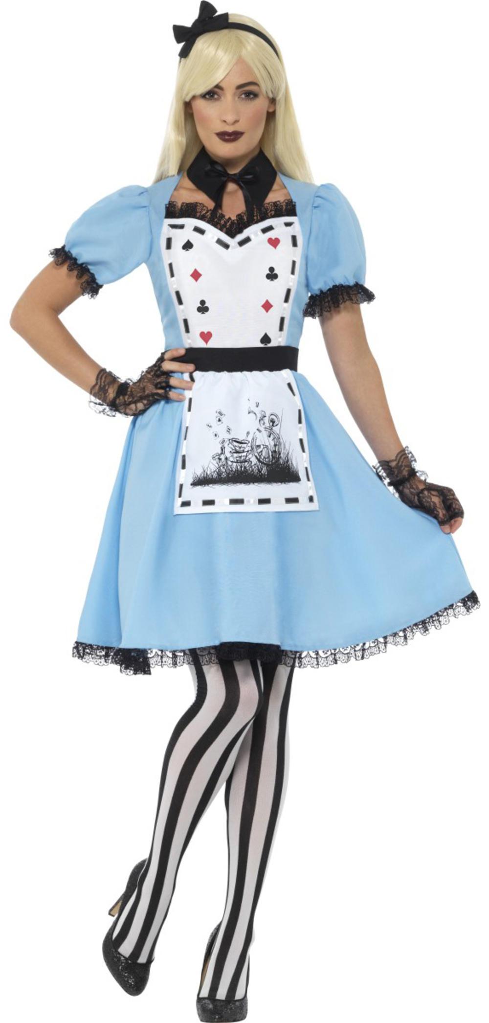 Dark Alice Ladies Fancy Dress Halloween Fairytale Book Day Adults Womens Costume