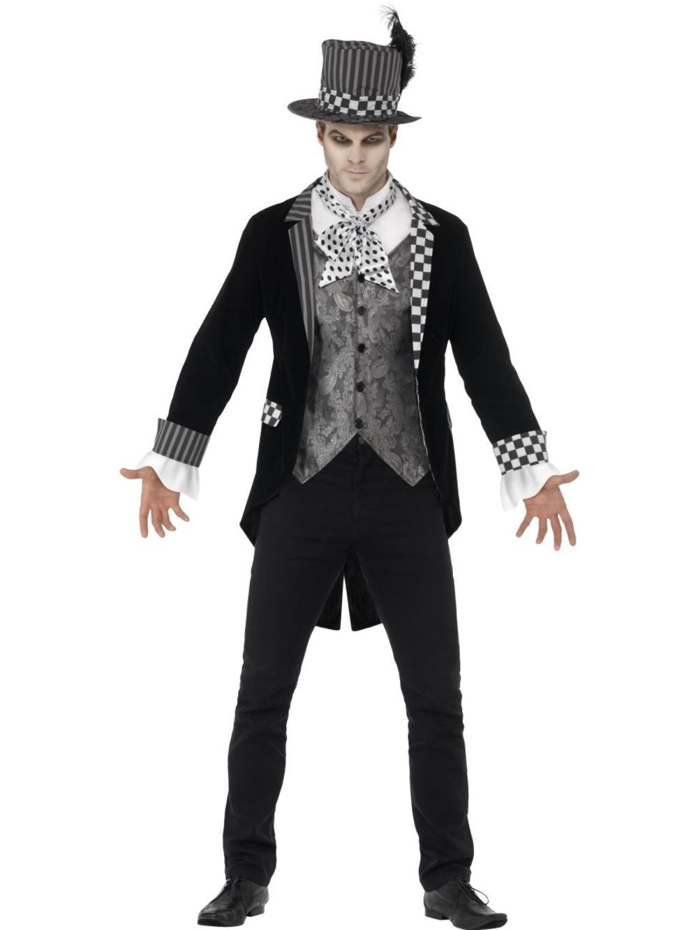 Deluxe Dark Hatter Mens Fancy Dress Halloween Gothic Fairy Tale Adults Costume