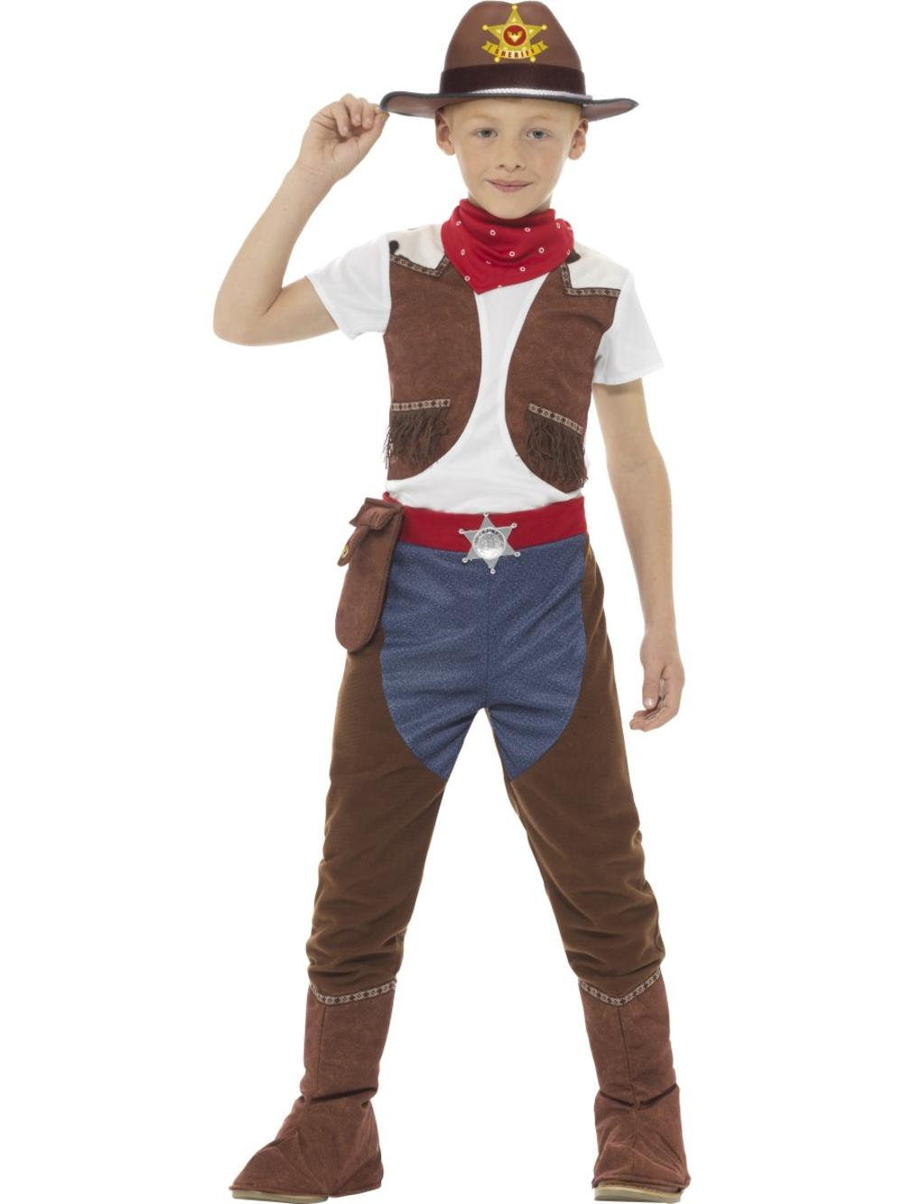 Deluxe Cowboy Boys Fancy Dress Wild West Sheriff Rodeo Book Day Childs Costume