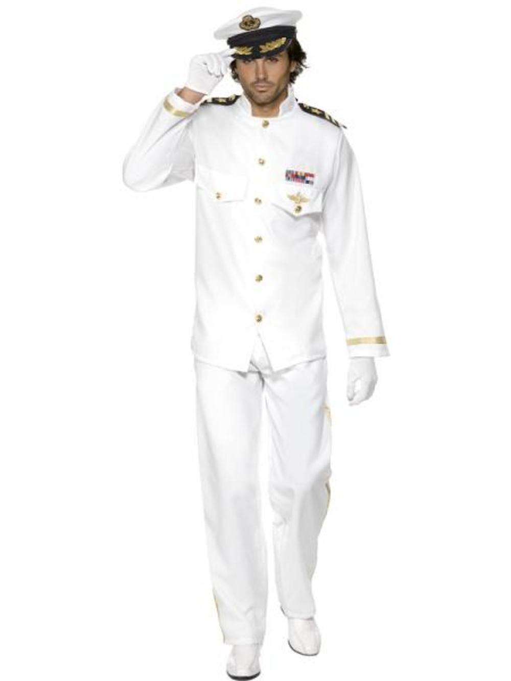 Deluxe White Captain Mens Fancy Dress Uniform Army Military Top Gun 80s Costume
