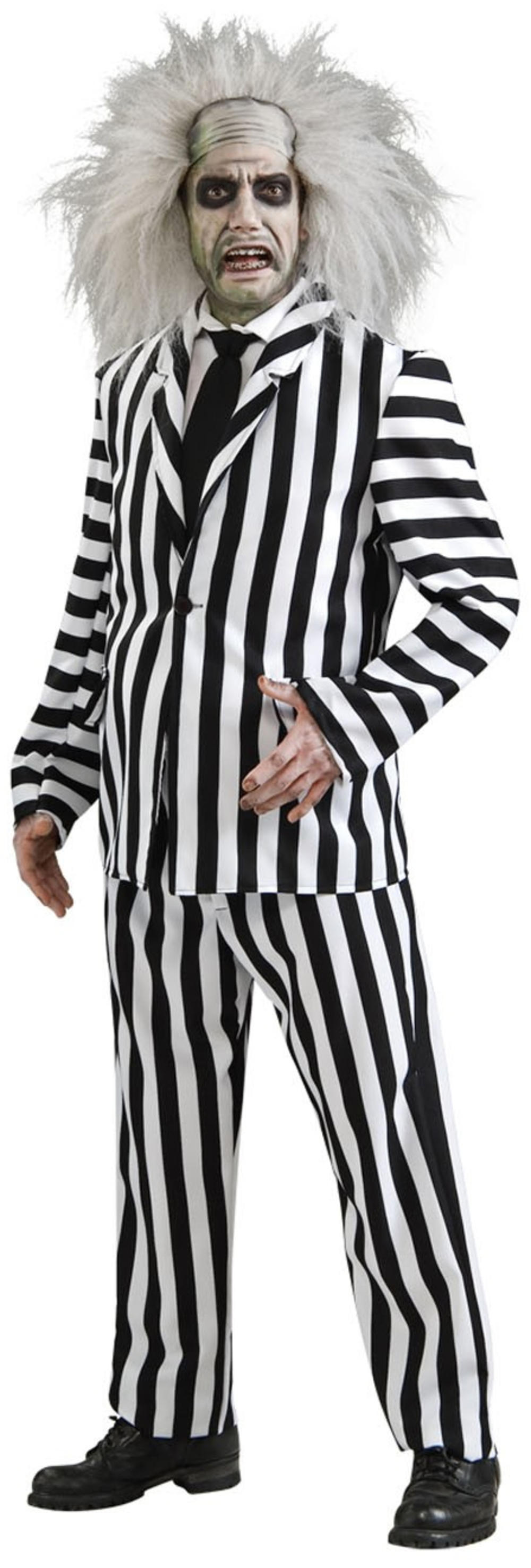 Deluxe Beetlejuice Mens Halloween Fancy Dress Tim Burton Movie Adult Costume New