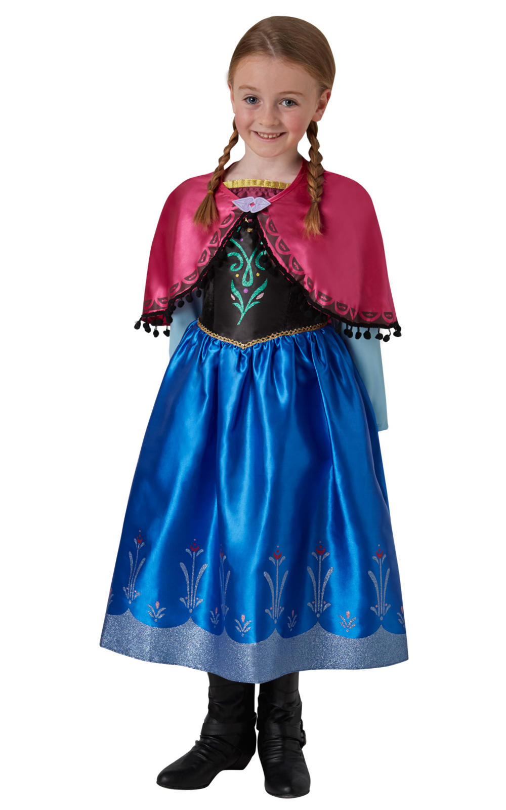 Deluxe Anna Girls Fancy Dress Ice Queen Disney Princess Kids Costume Outfit