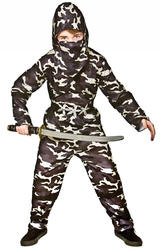 Delta Force Ninja Boys Fancy Dress Camouflage Army Military Kids Childs Costume