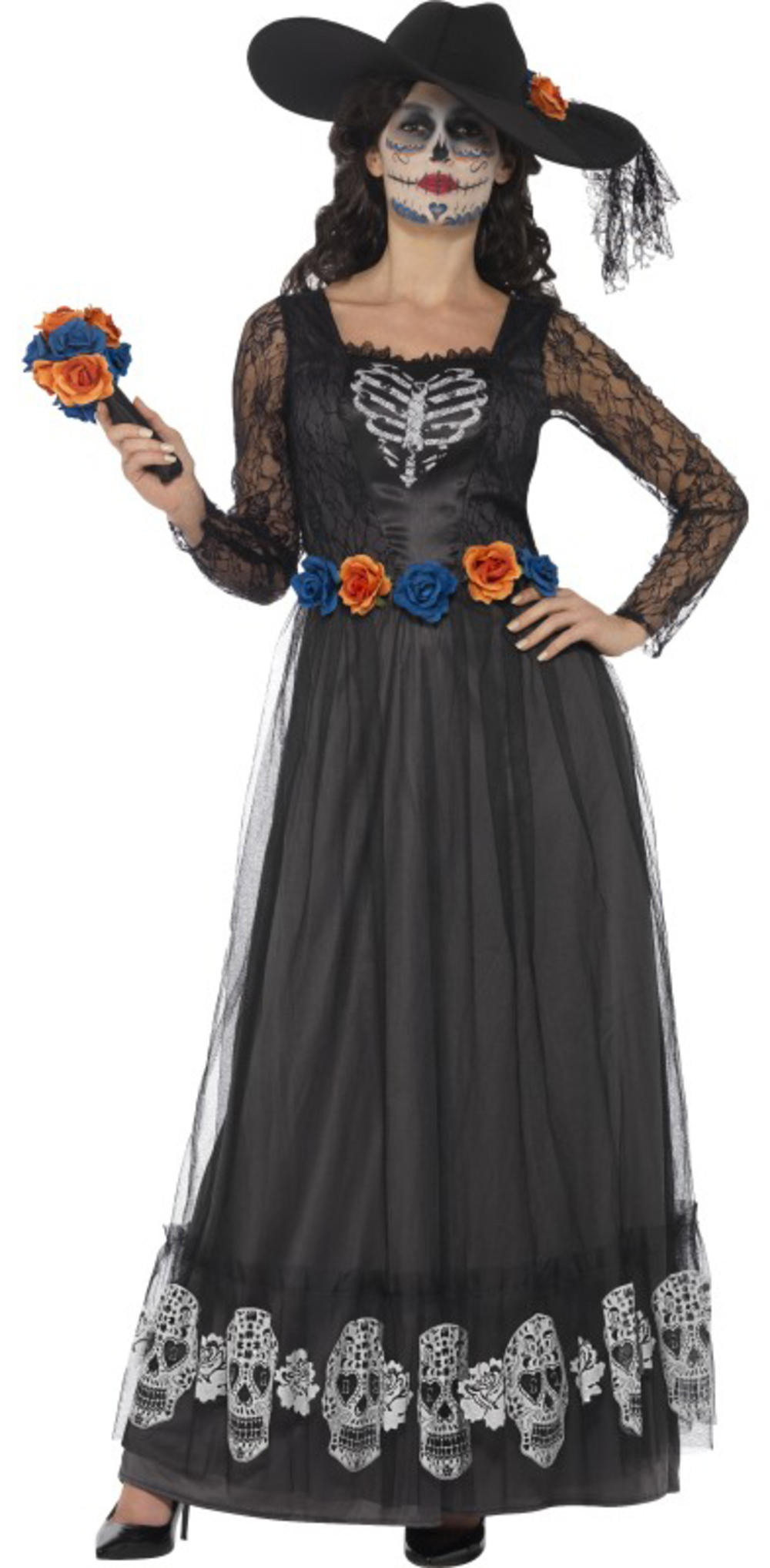 Day of the Dead Bride Ladies Fancy Dress Halloween Skeleton Adult Costume Outfit