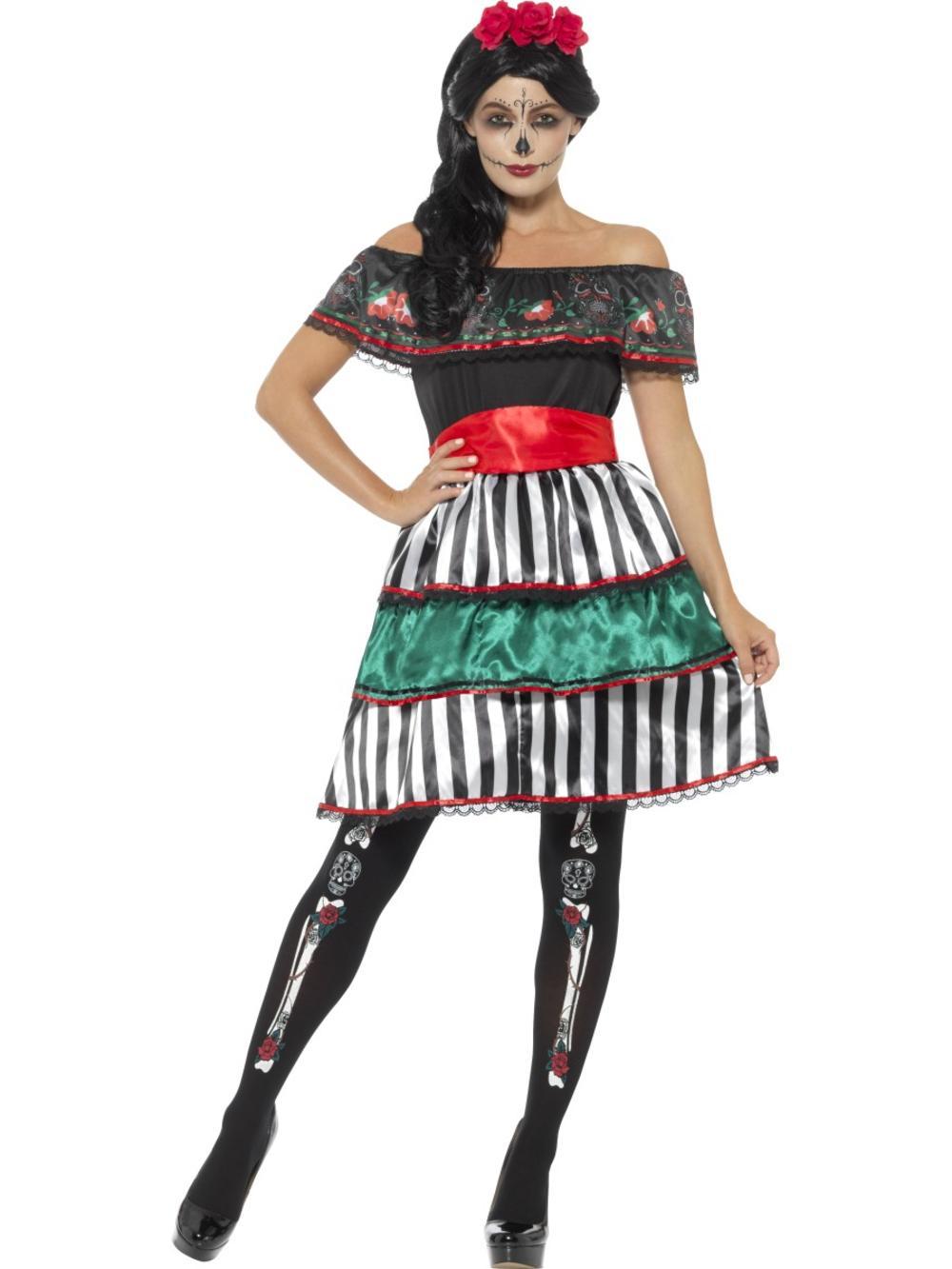 Day of the Dead Senorita Doll ladies Fancy Dress Halloween Adults Womens Costume