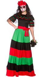 Day Of The Dead Senorita Ladies Fancy Dress Skeleton Halloween Womens Costume