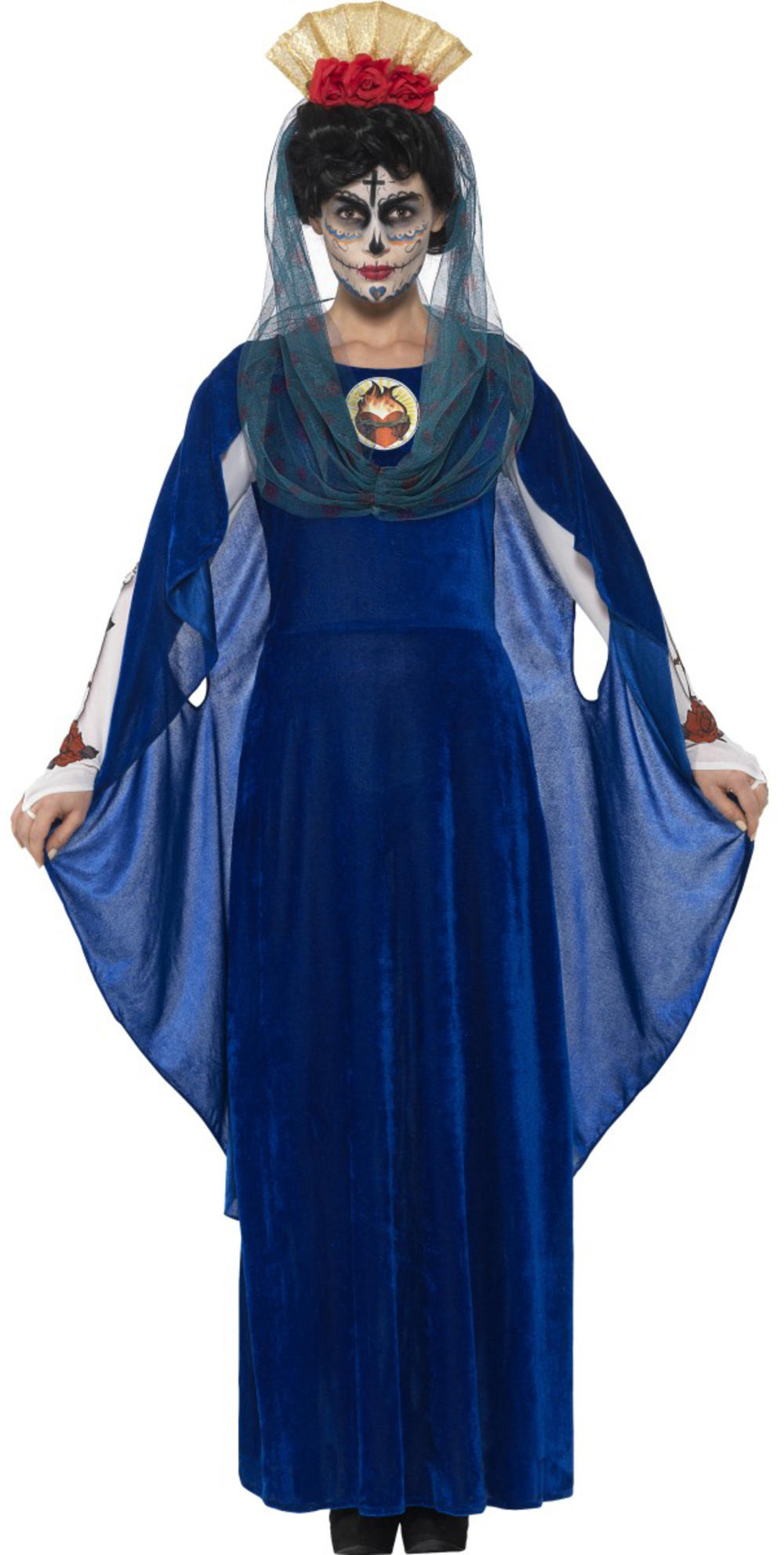 Day of the Dead Sacred Mary Ladies Fancy Dress Halloween Skeleton Adults Costume