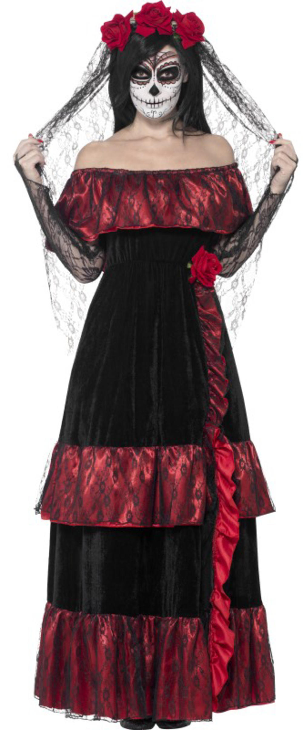 Day of the Dead Bride Ladies Halloween Fancy Dress Skeleton Adults Costume New