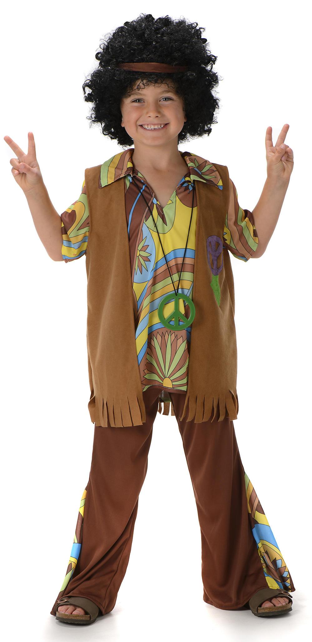 Boys Hippie Fancy Dress 1960s 70s Groovy Childs Childrens Kids Hippy Costume New