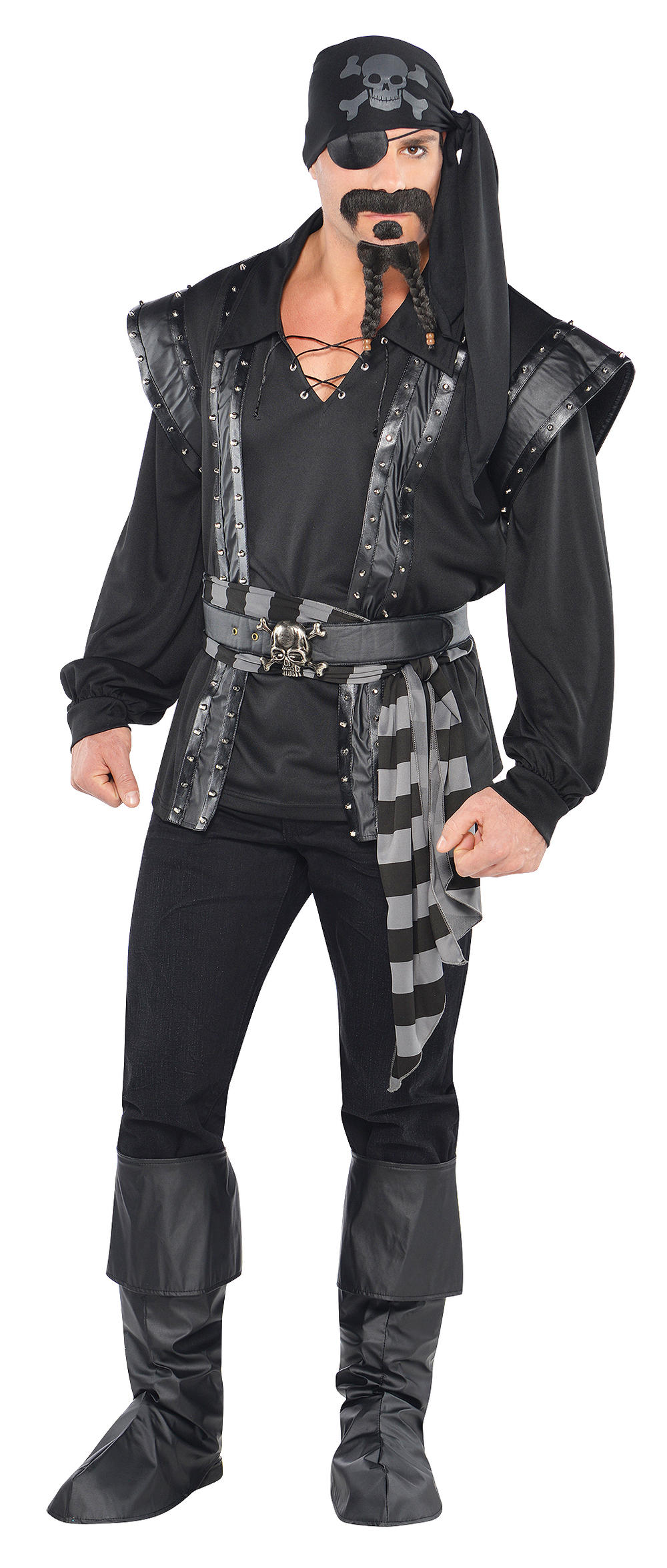 Dark Pirate Captain Mens Fancy Dress Shipmate Buccaneer Scoundrel Adults Costume